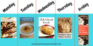 5 Day Crock Pot Dinner Meal Plan